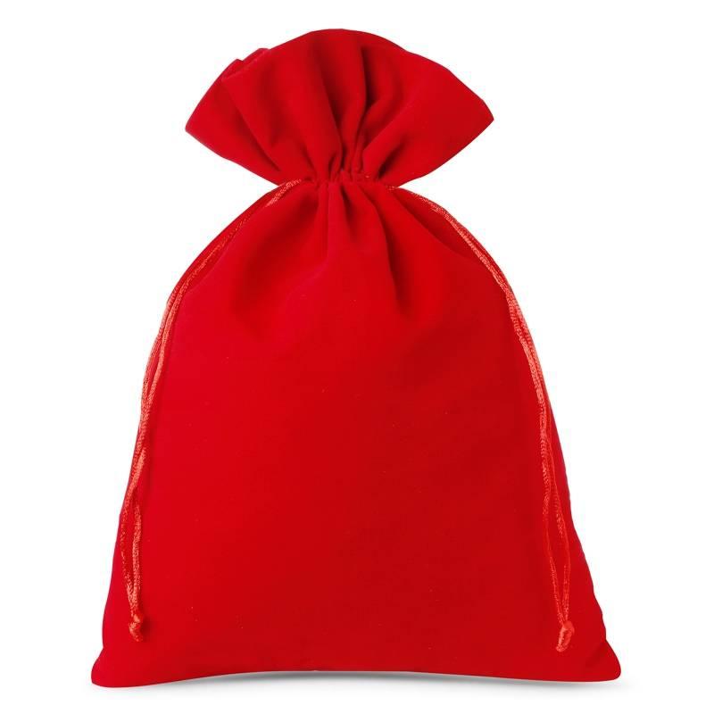 Woreczki welurowe 26 x 35 cm (3 szt.) - czerwone Bolsas de terciopelo