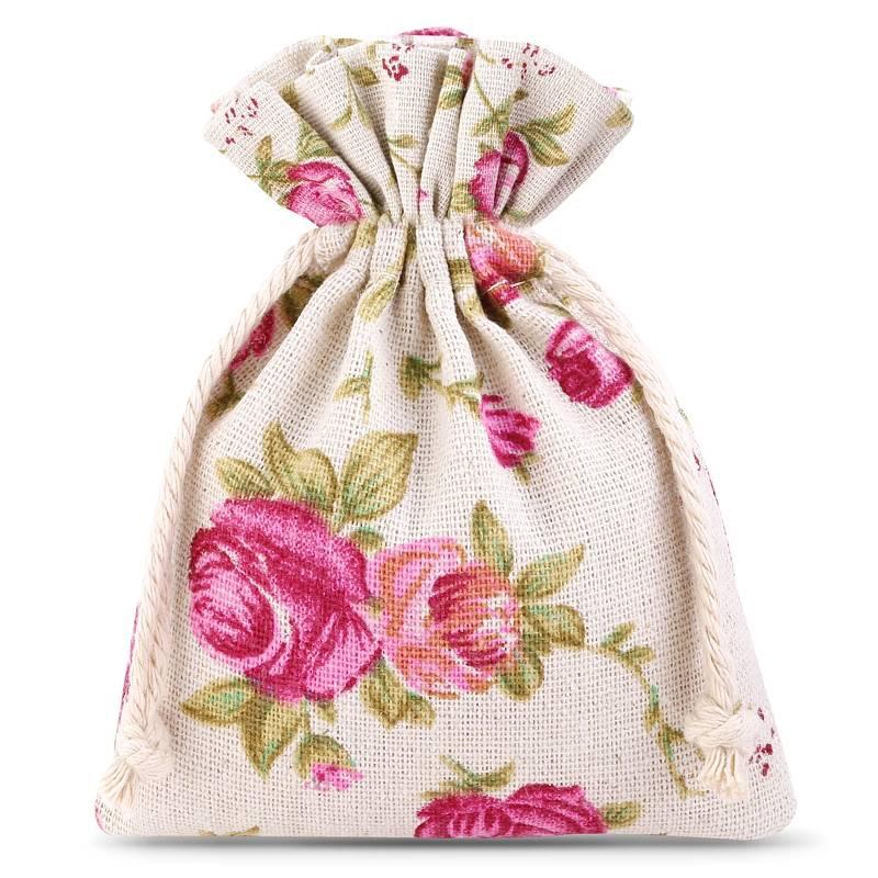 10 uds. Bolsas de lino con la impresión 9 x 12 cm - natural / rosas