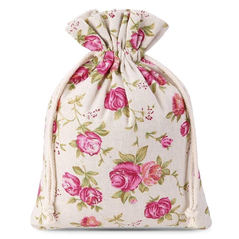 10 uds. Bolsas de lino con la impresión 13 x 18 cm - natural / rosas