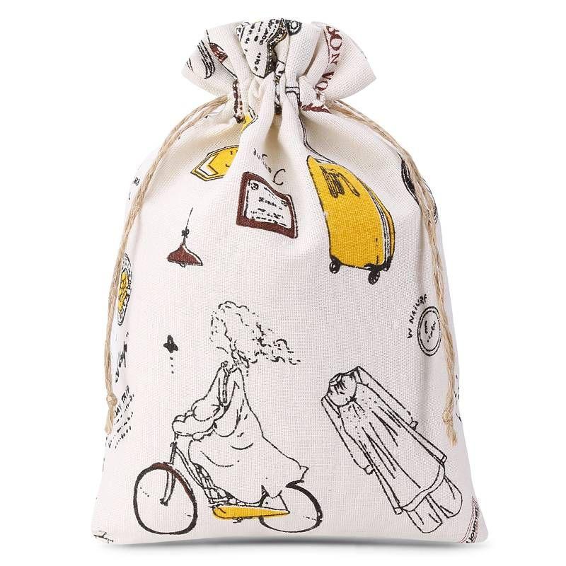 1 uds. Bolsa de lino con la impresión 18 x 24 cm - natural / viajes