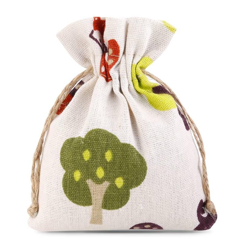1 uds. Bolsa de lino con la impresión 11 x 14 cm - natural / árbol