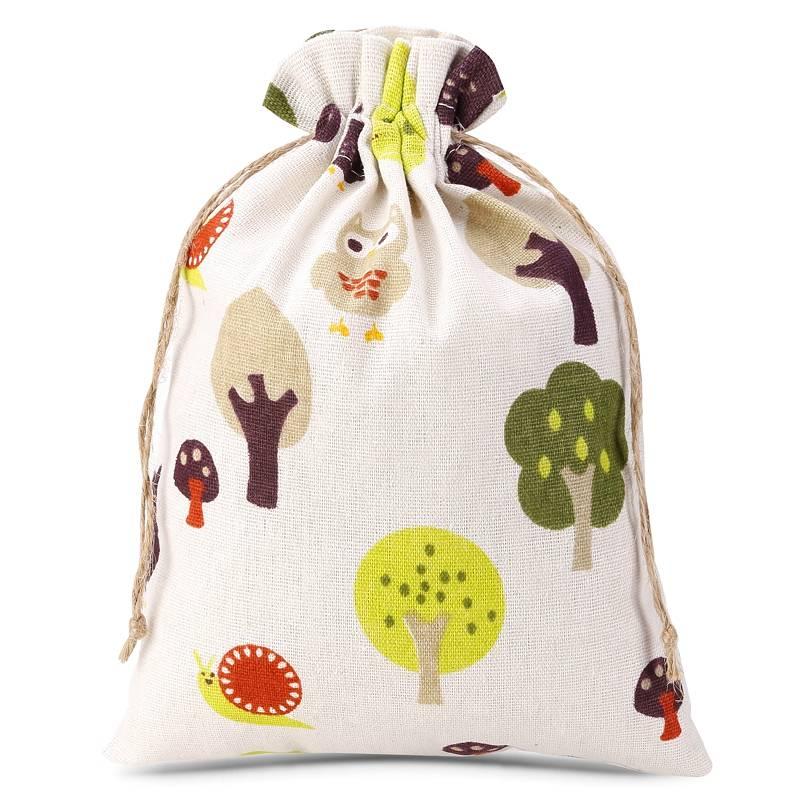 1 uds. Bolsa de lino con la impresión 15 x 20 cm - natural / árbol