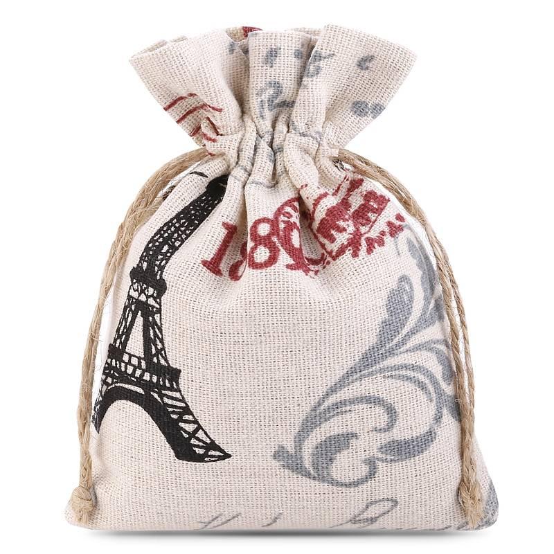 1 uds. Bolsa de lino con la impresión 11 x 14 cm - natural / París