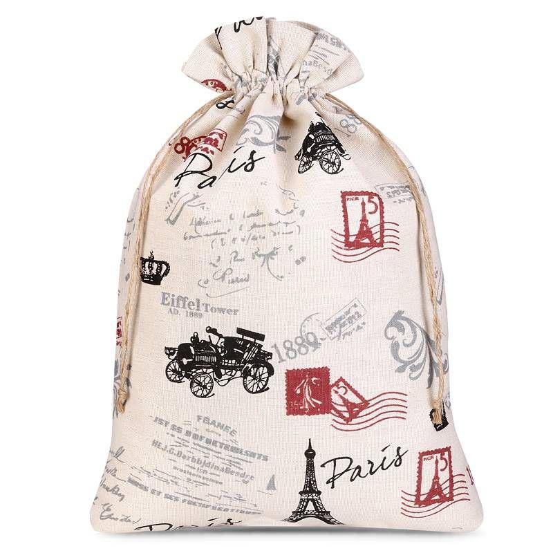 1 uds. Bolsa de lino con la impresión 30 x 40 cm - natural / París