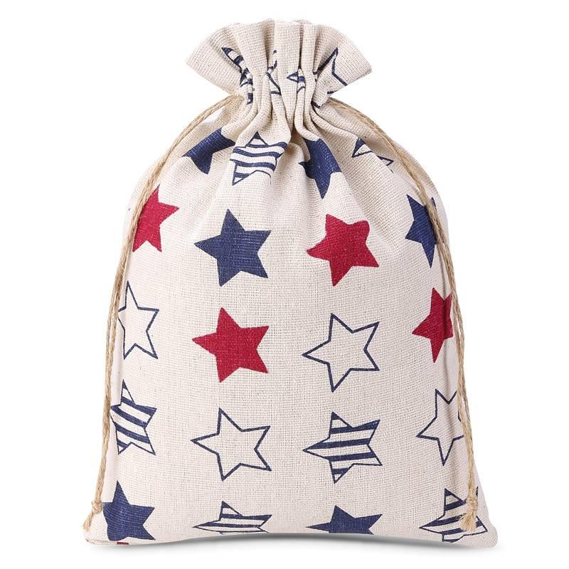 1 uds. Bolsa de lino con la impresión 18 x 24 cm - natural / estrellas