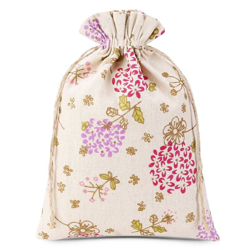 1 uds. Bolsa de lino con la impresión 22 x 30 cm - natural / flores