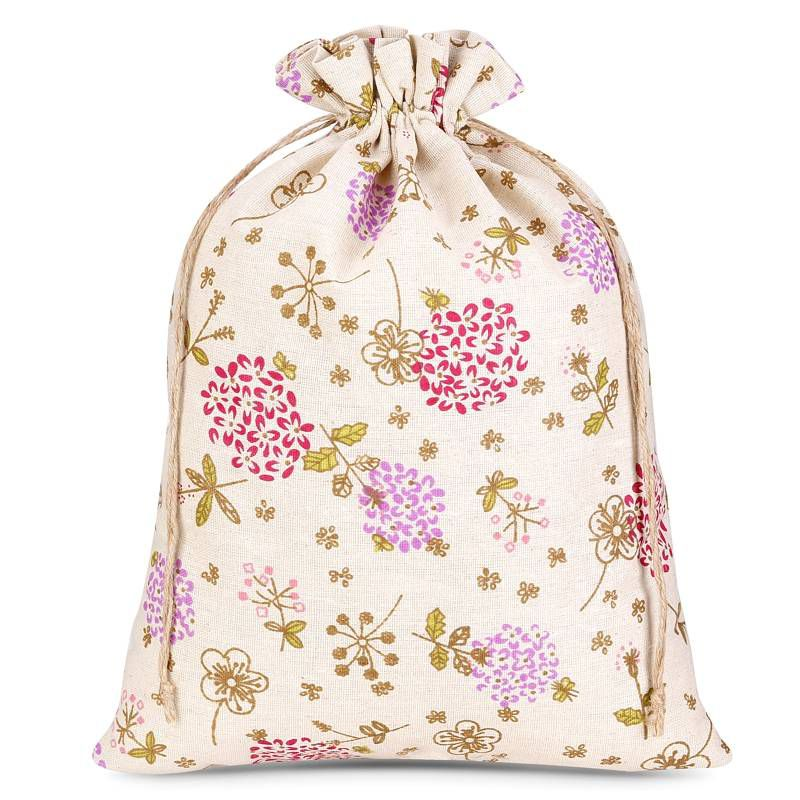 1 uds. Bolsa de lino con la impresión 30 x 40 cm - natural / flores