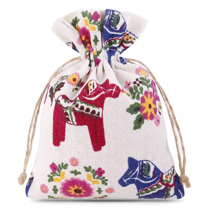 1 uds. Bolsa de lino con la impresión 11 x 14 cm - natural / caballo