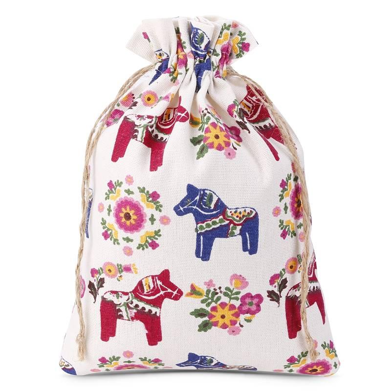 1 uds. Bolsa de lino con la impresión 18 x 24 cm - natural / caballo
