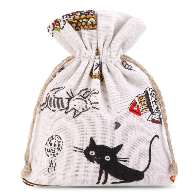 1 uds. Bolsa de lino con la impresión 11 x 14 cm - natural / gato