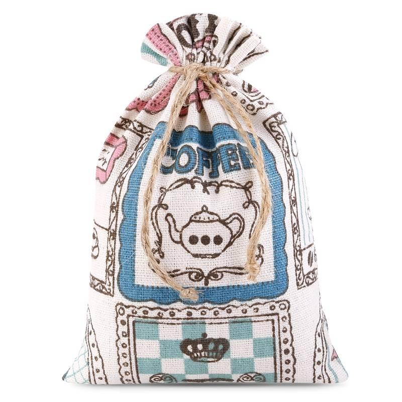 1 uds. Bolsa de lino con la impresión 11 x 14 cm - natural / café