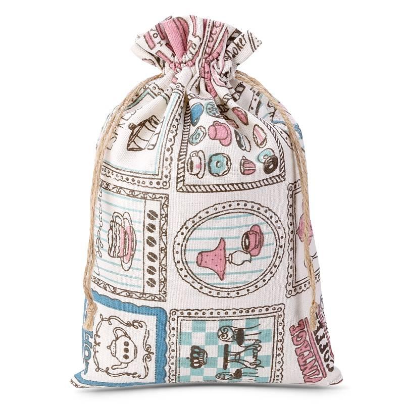 1 uds. Bolsa de lino con la impresión 15 x 20 cm - natural / café