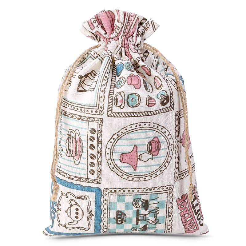 1 uds. Bolsa de lino con la impresión 18 x 24 cm - natural / café