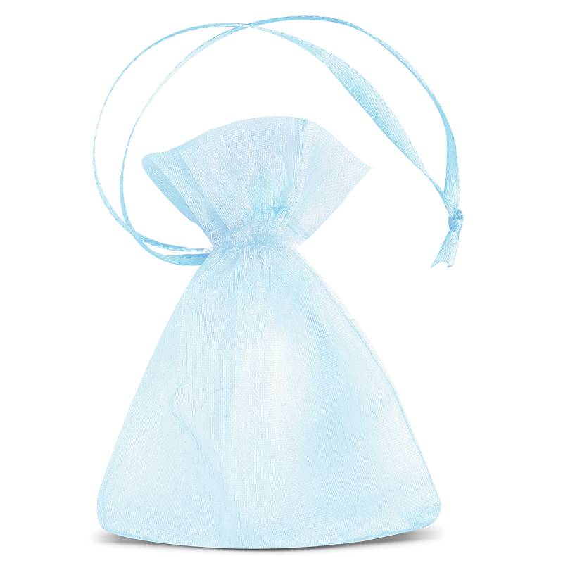 25 uds. Bolsas de organza 7 x 9 cm (SDB) - azul claro