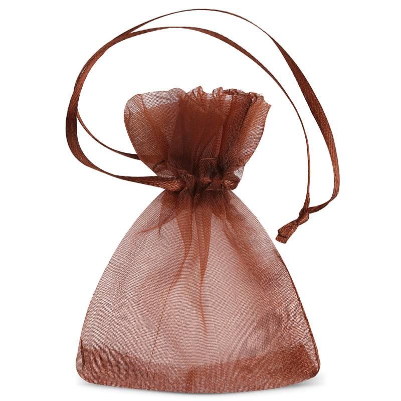 25 uds. Bolsas de organza 7 x 9 cm - marrón Decorativo Bolsas de organza