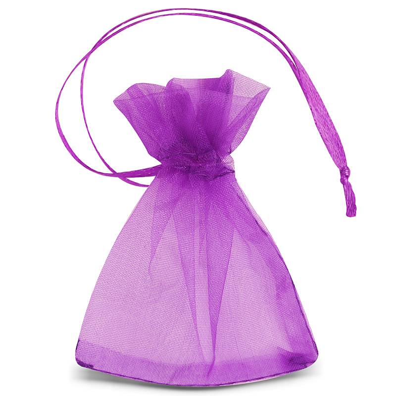 25 uds. Bolsas de organza 7 x 9 cm (SDB) - violeta oscuro