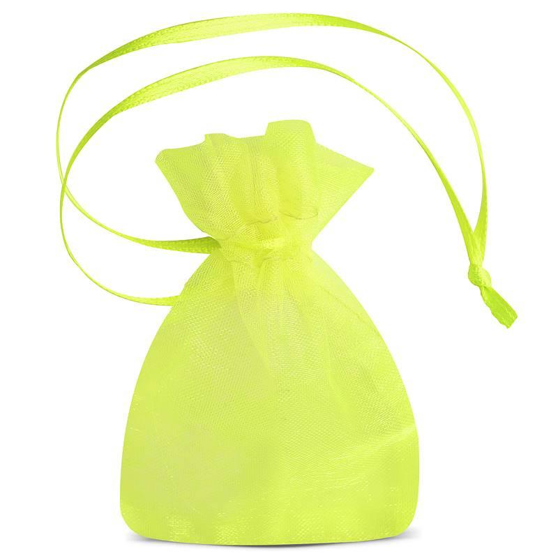 25 uds. Bolsas de organza 7 x 9 cm (SDB) - verde neón Decorativo Bolsas de organza