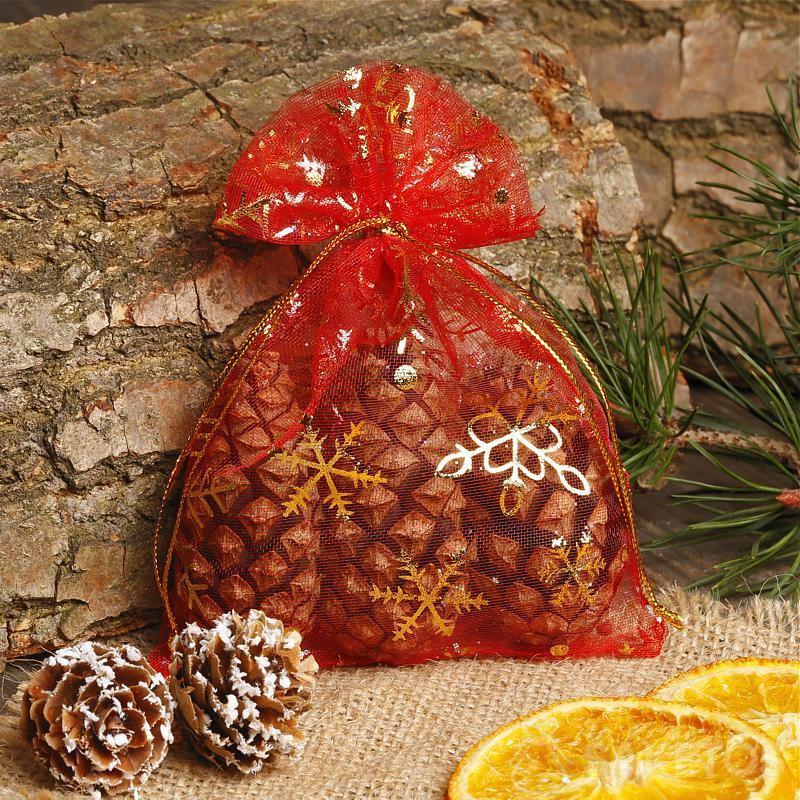 Bolsa de Navidad de organza roja.
