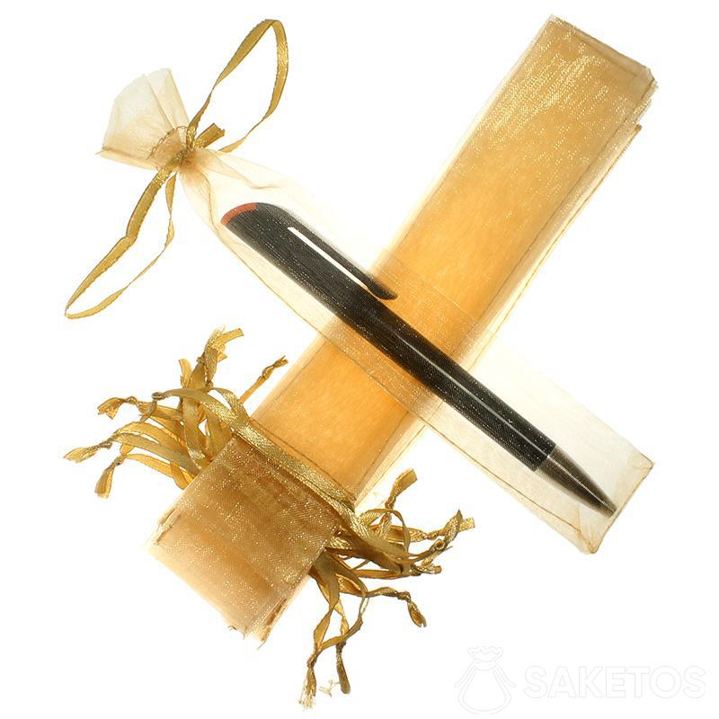 Bolsa para bolígrafo hecho de organza dorada