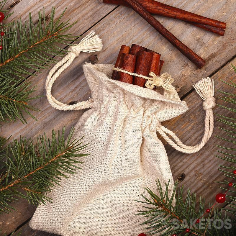 Bolsa de lino con estampado decorativo como funda de maceta
