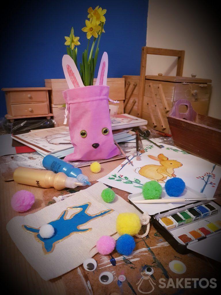 Creativo con su hijo - Bolsas de bricolaje para Pascua