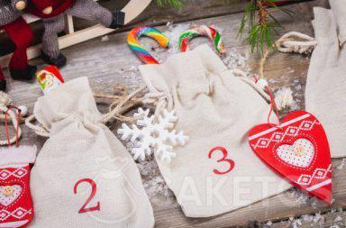 Calendario de adviento de bolsas de lino