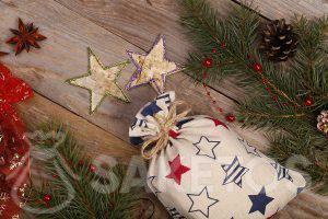 El fabricante de bolsas de lino ofrece bolsa elegante con estampado de estrellas