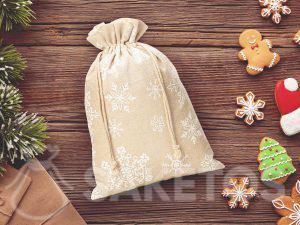 Bolsa de lino para Navidad con estampado de copos de nieve